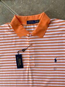 Polo Ralph Lauren Interlock Polo Shirt 2XLT Peach Striped w/Navy Pony NWT $110