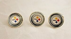 Pittsburgh Steelers Cufflinks and Tie Tack made from Football Cards, Men Dad