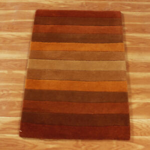 Handmade Stripped New Indian 2x3 ft Rugs Hand Tufted Wool Area Carpet