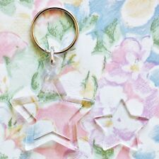 25x Blank Star Shape Acrylic Keyrings 30mm Photo Size (key ring plastic) G1511