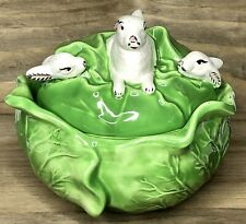 Vintage Holland Mold Ceramic 3 Rabbits Cabbage Green Tureen Bowl & Lid