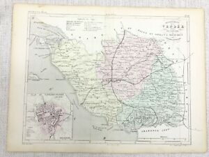 1881 Antique French Map Vendee La Roche-sur-Yon France Hand Coloured Engraving