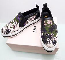 MSGM Floral Print Leather Textile Slip On Platform Sneakers