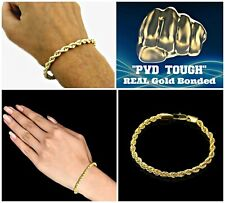 """5mm SOLID """"ROPE"""" CHAIN BRACELET-""""PVD BONDED 18K YELLOW GOLD""""-3 Sizes-FREE Pouch"""