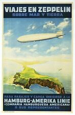Viajes en Zeppelin, Airship Travel Poster Ad --- Modern German Aircraft Postcard