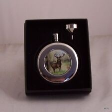 Round Hip Flask 4.5oz Stag design with funnel in Presentation Box