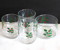 Vintage Mid Century Modern 3 Holly Glasses Matching Ice Bowl FREE SH