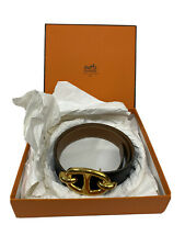 """Authentic HERMES Gold Chaine d'Ancre 1"""" Belt Buckle With Belt & Box"""