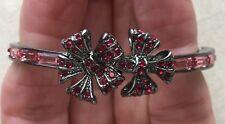 Givenchy Flower Bracelet Bangle Swarovski Elements Gunmetal Hinged