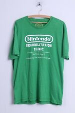 Next Mens XL T-Shirt Green Cotton Official Nintendo Seal Graphic Crew Neck