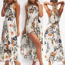 Boho Womens Holiday Halter Neck Floral Maxi Dress High Split Sleeveless Sundress