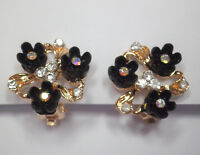 Clip on black flower and crystal gold tone earrings