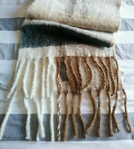 BNWT French Connection Knitted Scarf New Big Wrap Shawl Stripe Blanket Oversized