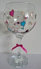 Personalised GIN glass Lockdown Hand painted Heart Design with FREE Gift Box