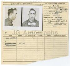 Police Booking Sheet - Burglary and Larceny - Jefferson City, Missouri, 1952