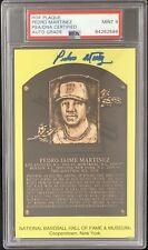 Pedro Martinez Signed Gold HOF Plaque Postcard Yellow PSA/DNA Autograph Mint 9