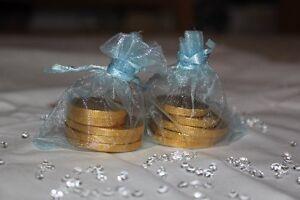 70 x LIGHT BABY BLUE ORGANZA BAGS WEDDING TABLE DECORATION 7cm x 9cm UK SELLER