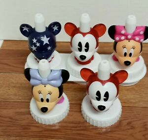 Disney Good2Grow Bottle Toppers Mickey Minnie Lot Of 5 Plus Stand