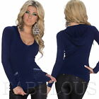 Sexy Ladies Jumper Sweater Top Hooded Knitwear SIZE 10 8 6 /US Size 2 4 6 XS S M