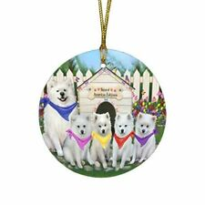 Spring Dog House Round Flat Christmas Tree Ornament, Dogs, Cats, Pet Photo Gift