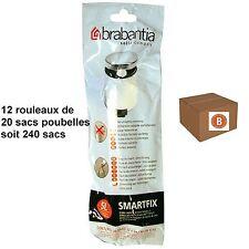"""BRABANTIA LOT 240 SACS POUBELLES  """"B""""   pour poubelle 5 litres"""