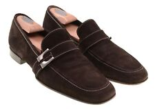 Pal Zileri Made in ITALY Brown Suede Leather Full Strap Buckle Loafers Shoes 8