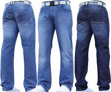Mens Jeans Straight Leg Denim Regular Smart Pants With Belt All Waist Sizes