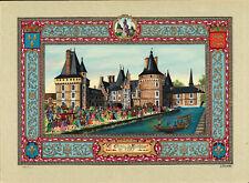 """Jean GRADASSI """"Le Château de Maintenon en 1685"""" sur satin, neuf"""