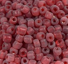 "Murano Italian Vtg  Glass Seed Beads Size 5/0 "" RED MATTE ""  Loose 50 Grams"