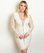 Womens Plus Size Ivory with Gold Shimmer Bodycon Dress 2XL
