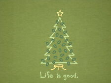 LIFE IS GOOD WOMENS S/S CRISTMAS TREE LIGHTING T-SHIRT SIZE M
