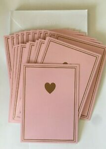 Hallmark Pastel Pink w/ Gold Foil Heart Blank Cards Pack of (20) NEW w/Envelopes