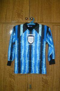 England Umbro Goalkeeper Football Shirt GK 1997/1998 Blue Boys Size 134 cm 8/9