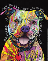 Beware of Pit Bulls Steal Your Heart by Dean Russo Art Print Poster Dog 11x14