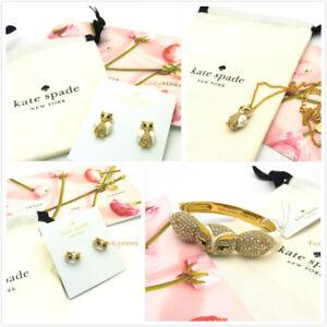 NWT Kate Spade Star Bright Owl Mini Pendant/Studs/Reversible Earring/Bangle