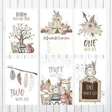 Baby Milestone Cards, 4x6 Photo Prop, 32 cards, Woodland Animals, Deer Fox Bear