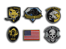 Metal Gear Solid Cosplay Airsoft IRON ON PATCH SET , 6 Embroidered Badges