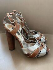 Dolce Gabbana Absatzschuhe Pumps 36,5 37 Braun Metallic Silber Holz Leder