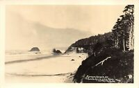 RPPC CANNON BEACH Ore. South from Hug Point Woodfield Photo POSTCARD