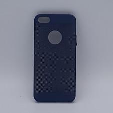 iPhone 5, 5s, SE hoesje - effen blauw gaas-look