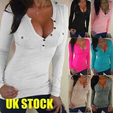 Fashion Womens T Shirt Long Sleeve V Neck Loose Bandage Buttoned Blouse Top