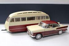 1:18 Norev Simca Vedette Chambord 1958 + Caravane Henon red & ivoire