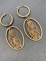 "Ladies  Gold Tone Buddha Hoop Bohemian Boho Namaste Pierced Earrings 2.5"""