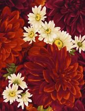 Red Dahlias and White Daisies Quilt Fabric - 1 Yard