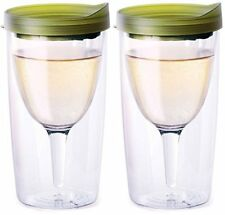 Vino2Go Double Wall Insulated Acrylic Wine Tumbler with Verde Slide Lid, 2 Pack