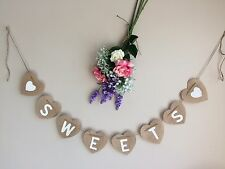 Rustic Hessian Heart ❤️ SWEETS ❤ Wedding Bunting Hanging Venue Decoration