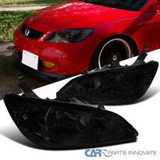 For 04-05 Honda Civic Coupe Sedan 2/4Dr Smoke Lens Headlights Tinted Head Lamps