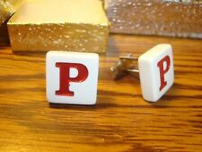 """"""" P """" Monogram Letter Initial SILVER Plated Cufflinks 1 Pair (Two)  Red/White"""