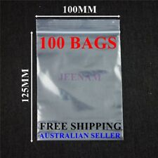 100 Resealable Zip Lock plastic bags 125MM X 100MM + FREE SHIPPING