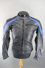 LOOKWELL BLACK & BLUE LEATHER BIKER JACKET + CE ARMOUR & THERMAL LINING 36 INCH
